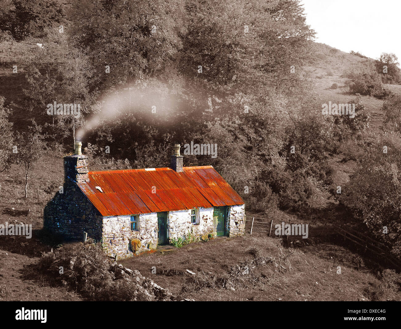 Highland Croft: digitale Kunst Stockbild