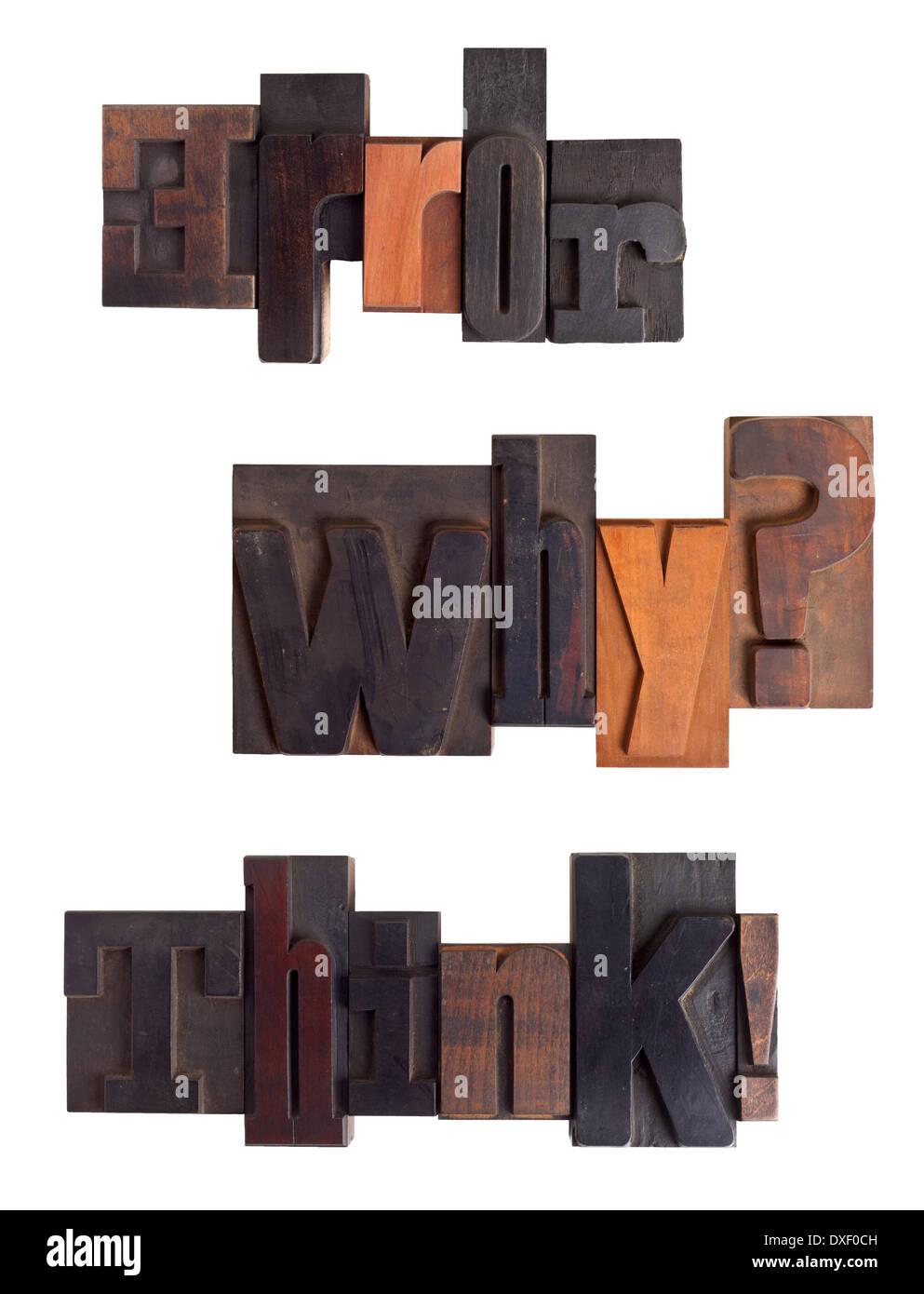 Sätze, Fehler, warum? , denken! , geschrieben in Vintage Buchdruck Typ, zerkratzt und gebeizt, isoliert auf weißem Hintergrund Stockbild