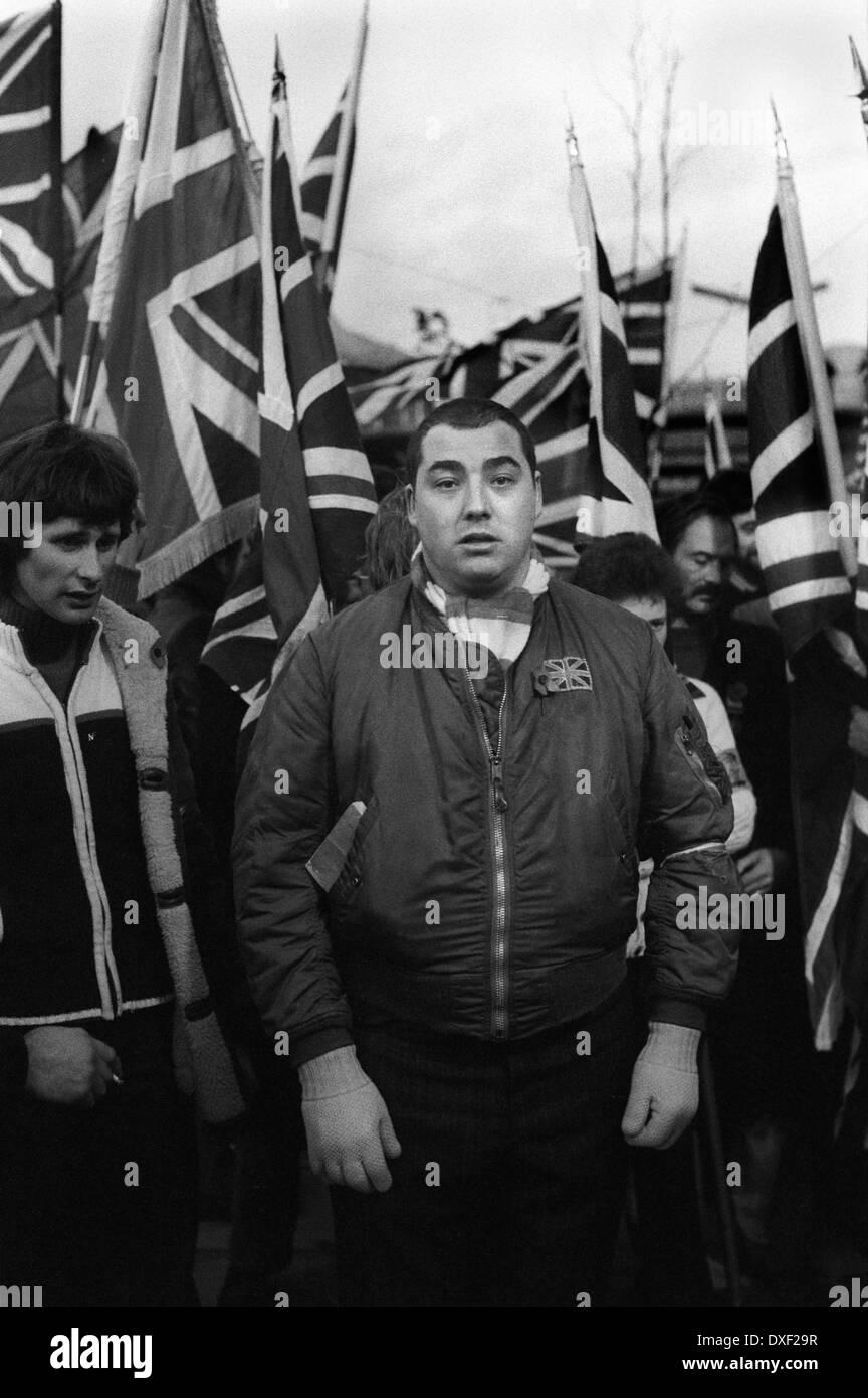 Nationale Front NF Mitglieder Tag der Erinnerung März und Rally London 1970 s UK HOMER SYKES Stockbild