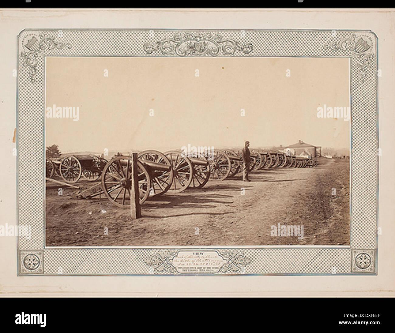 Blick auf den Park der Artillerie erfasst bei der Schlacht von Chattanooga, 24. November, 24, 25 & 26., 1863 Stockbild