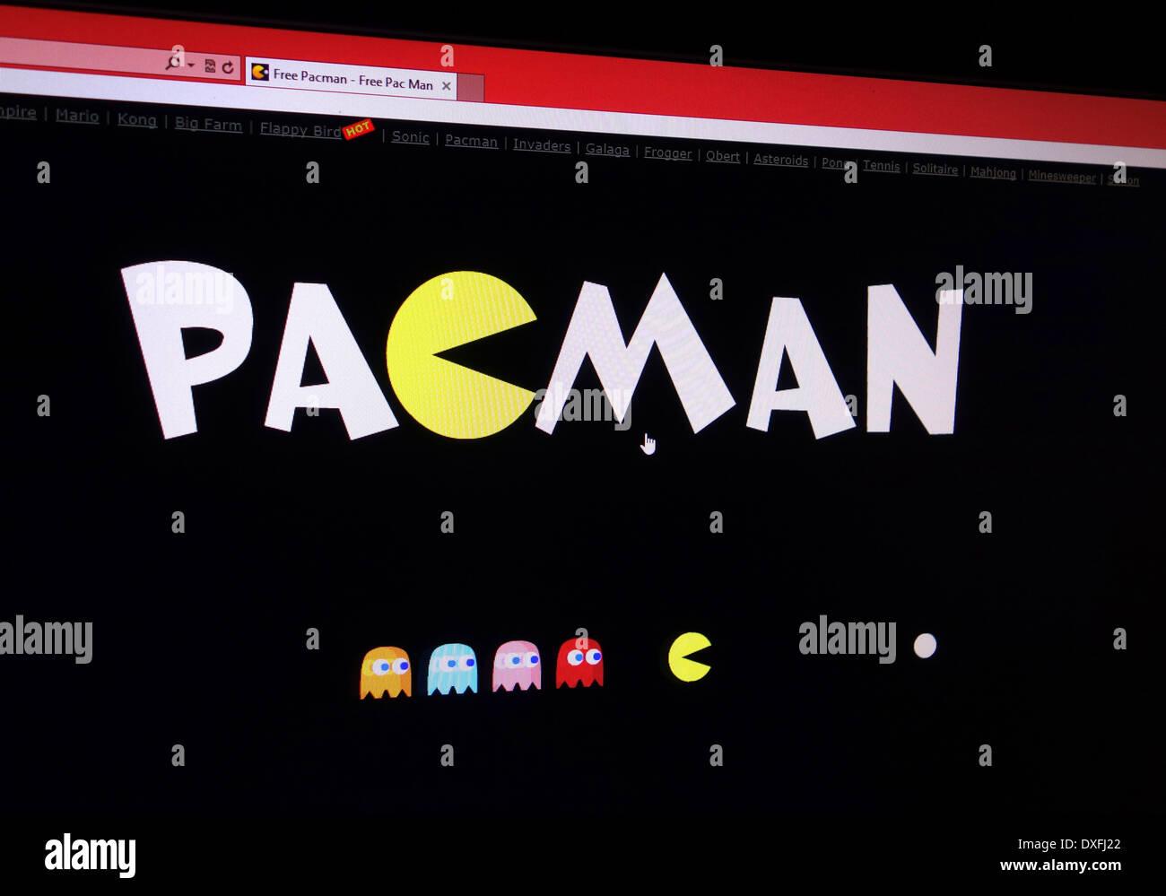 Pacman. 80er Jahre klassisches Arcade-Spiel Stockbild