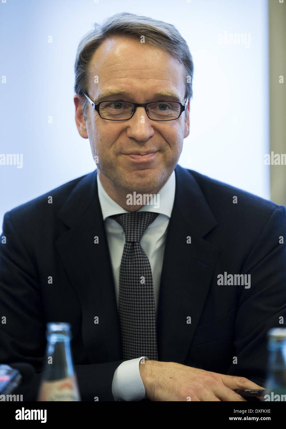 Berlin, Deutschland. 25. März 2014. Drücken Sie Talk zwischen VAP Mitglieder und Dr. Jens Weidmann, Präsident der Stockfoto