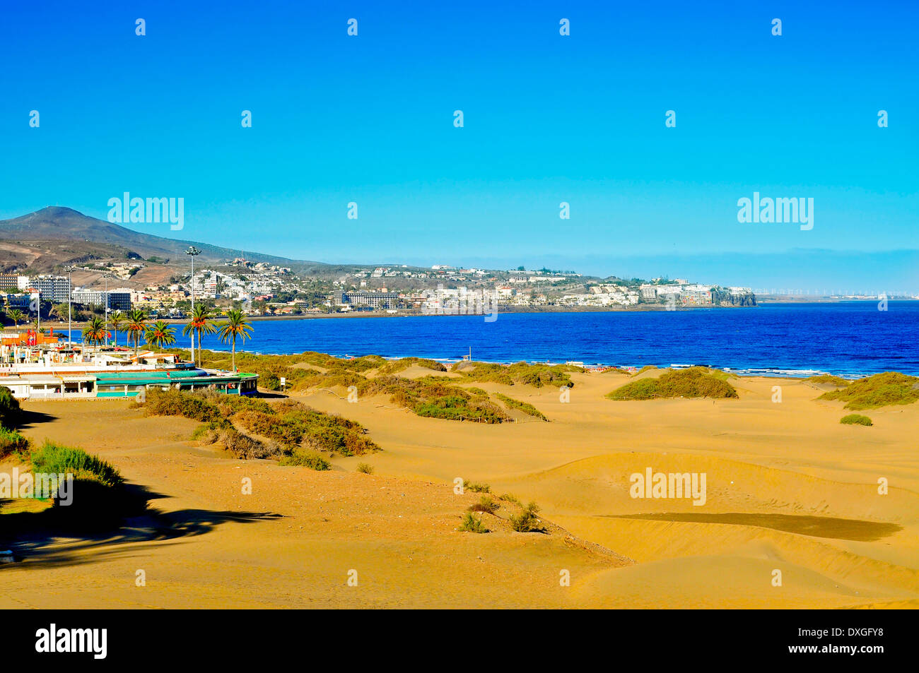 ein Blick auf Playa del Ingles in Maspalomas, Gran Canaria, Kanarische Inseln, Spanien Stockbild