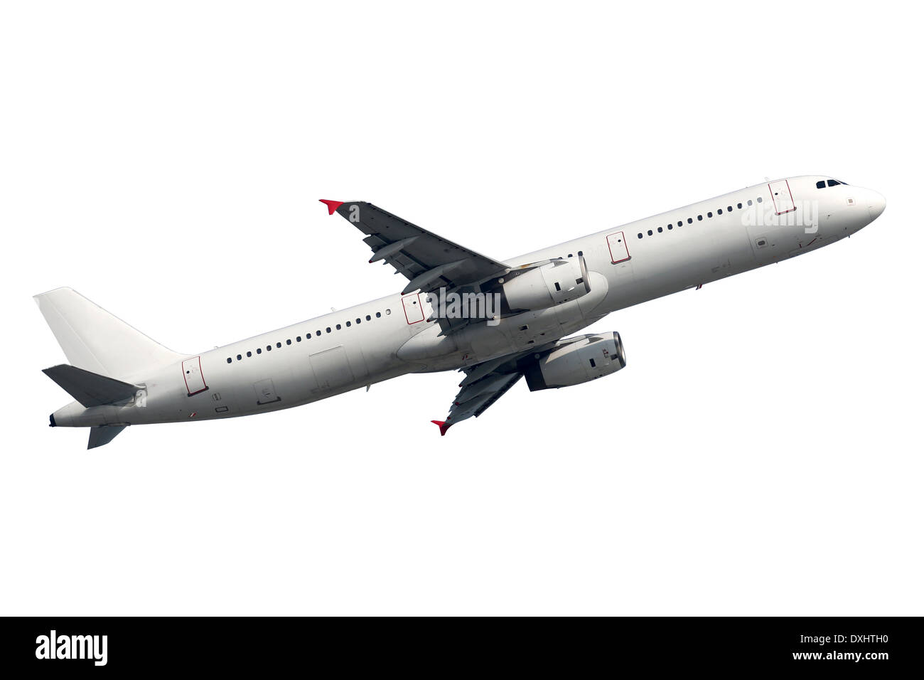 Flugzeug während des Fluges auf einem weißen Hintergrund isoliert Stockbild