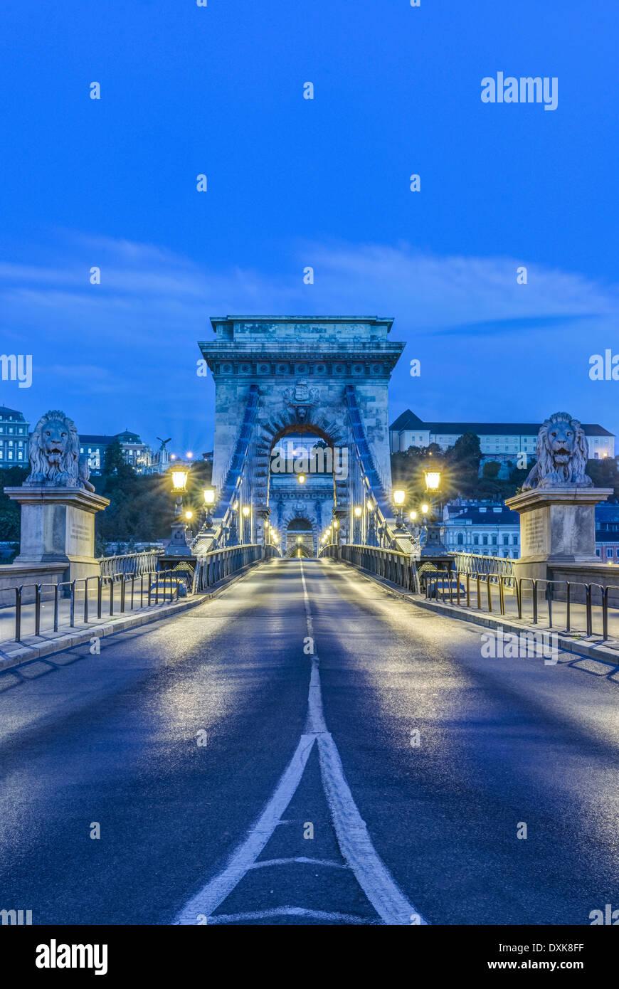 Löwen-Statuen und beleuchtete Straßenlampen entlang Kettenbrücke, Budapest, Ungarn Stockbild