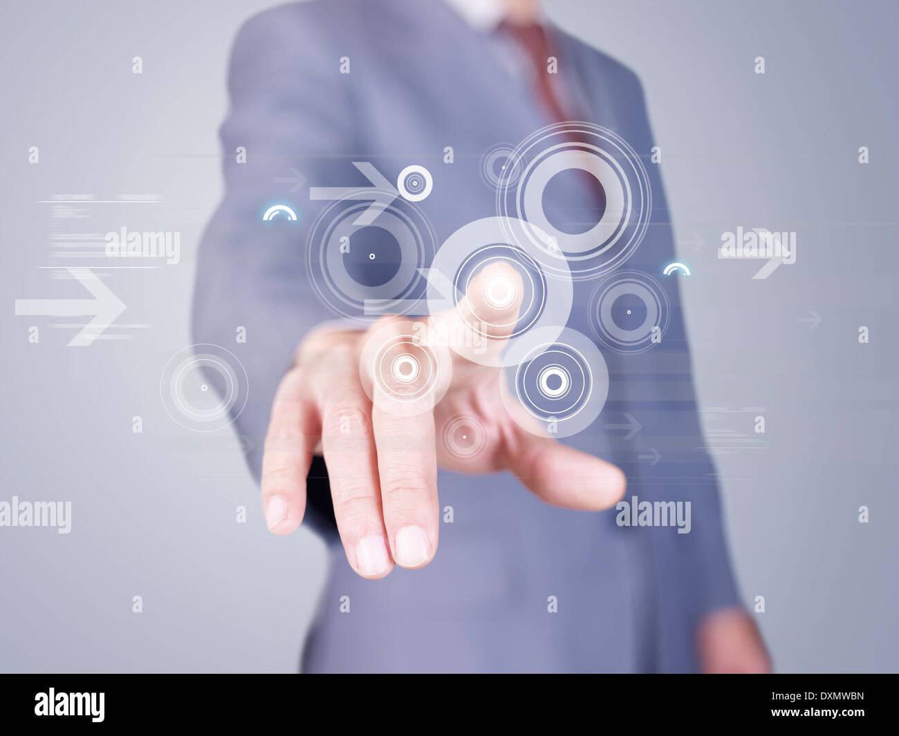 virtuellen Finger drücken der Tasten Stockfoto