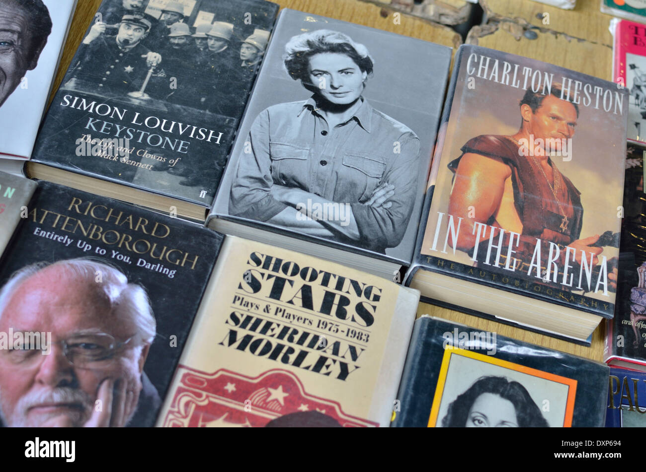 Bücher über alte Hollywood-Filmstars Stockfoto