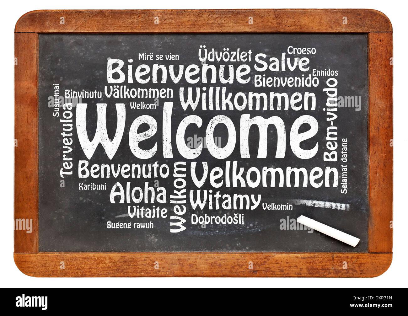 Willkommen Sie in verschiedenen Sprachen - eine Wortwolke in weißer ...