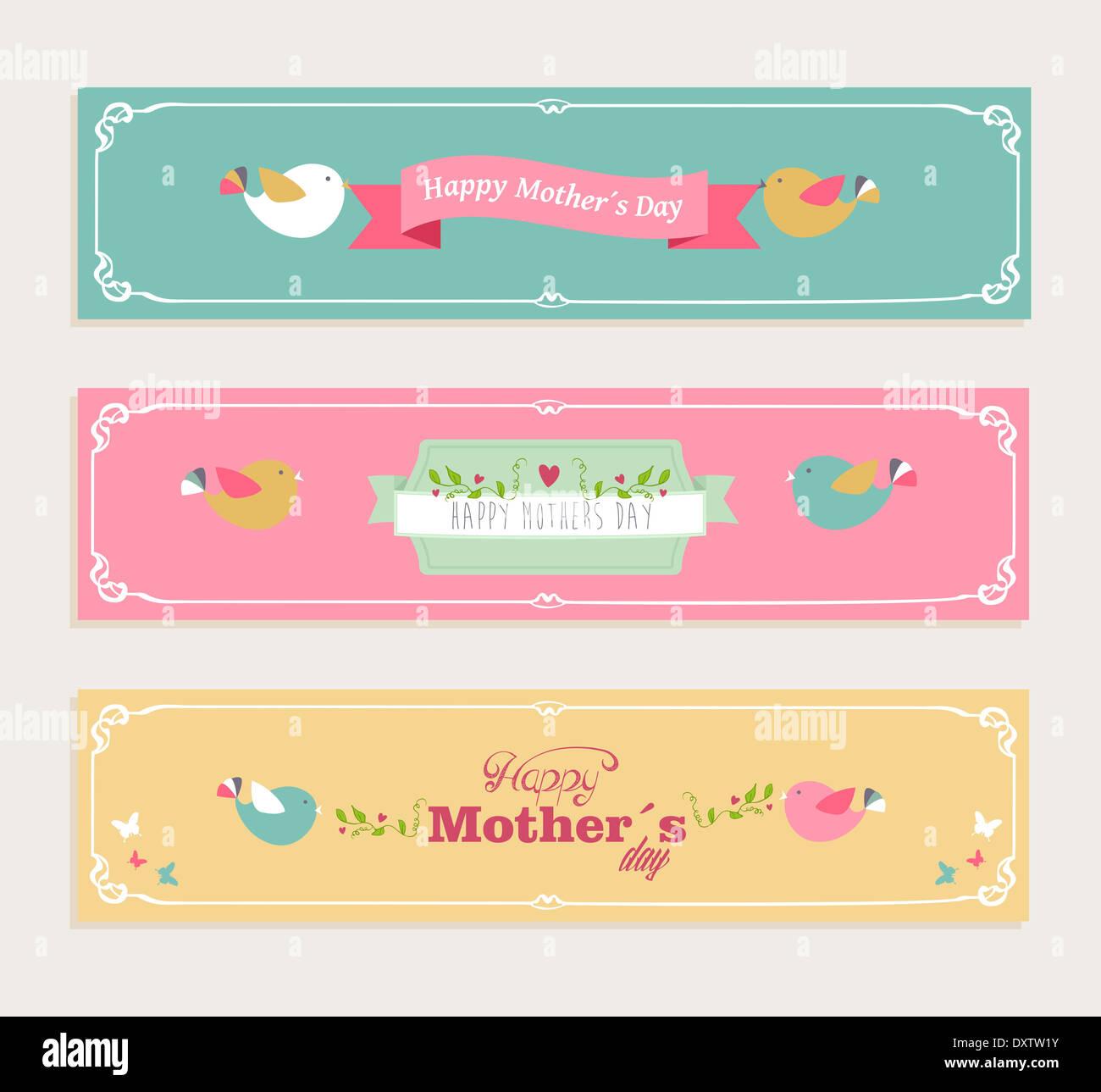 Retro schneiden glücklichen Mütter Tag Banner gesetzt. Vektor ...
