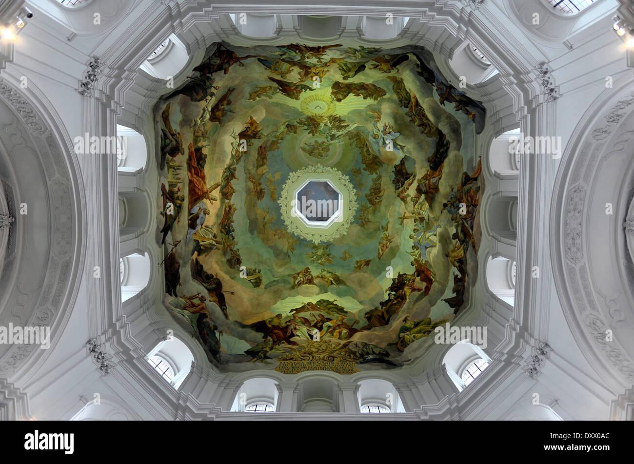 Kuppel des Neumünster Stiftskirche, Würzburg, untere Franken, Bayern, Deutschland Stockbild