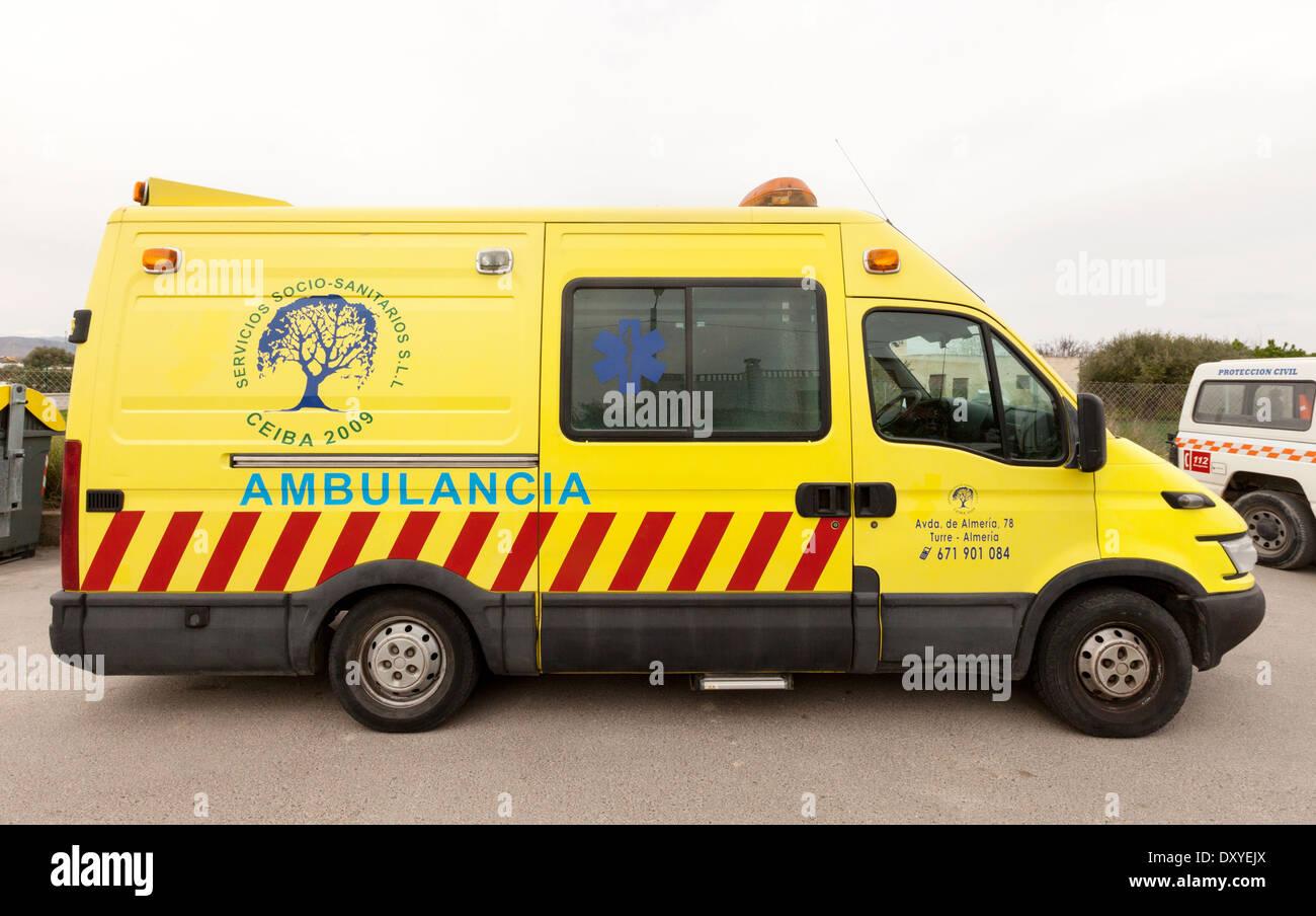 Spanische Krankenwagen, Teil des Gesundheitsdienstes, Andalusien, Spanien-Europa Stockbild