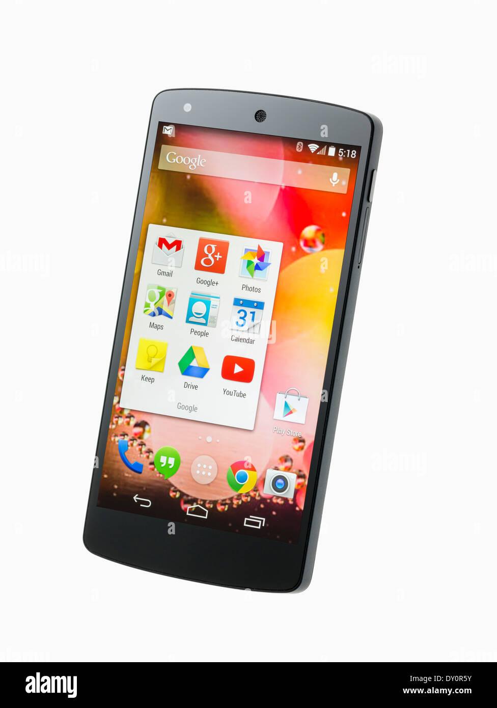 Google Nexus 5 Android Smartphone smart phone mobile phone Stockbild
