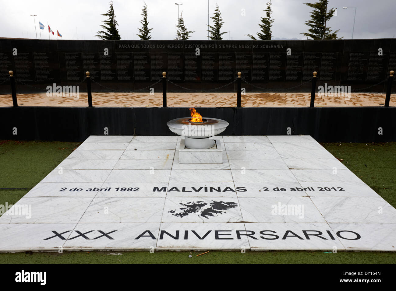 ewige Flamme Islas Malvinas Krieg Denkmal Ushuaia, Argentinien Stockbild