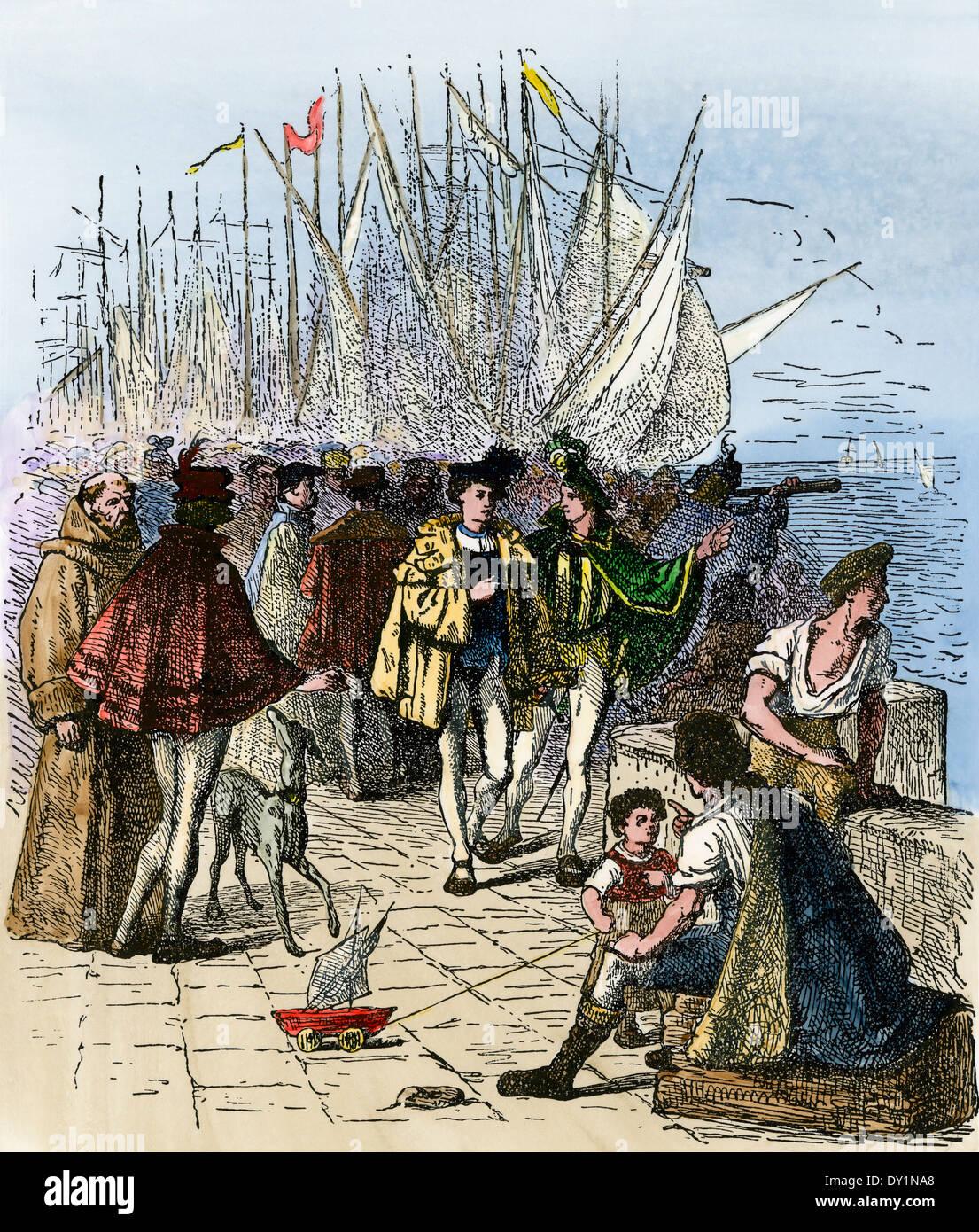 Besetzt Lissabon Waterfront im Zeitalter der Entdeckung, circa 1470. Hand - farbige Holzschnitt Stockbild