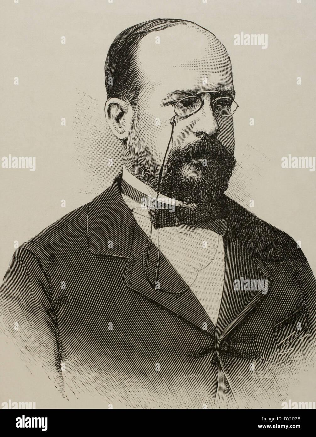 Eduardo Leon y Ortiz (19. Jahrhundert). Spanisch-Professorin an der Fakultät der Universidad Central. Stockbild