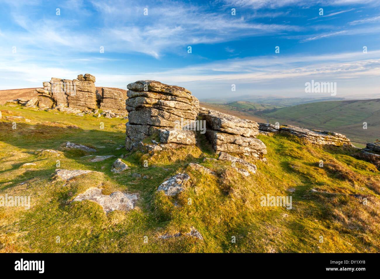 Hookney Tor, Dartmoor National Park, North Bovey, West Devon, England, Vereinigtes Königreich, Europa. Stockbild