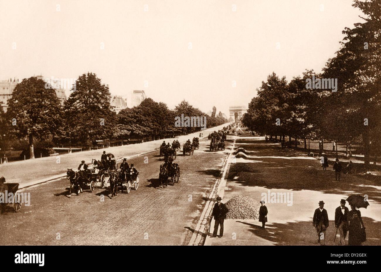 Avenue du Bois de Boulogne, Paris, ca. 1900. Foto Stockbild