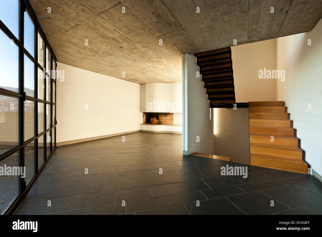 Innen Moderne Villa, Holztreppe In Einem Wohnzimmer
