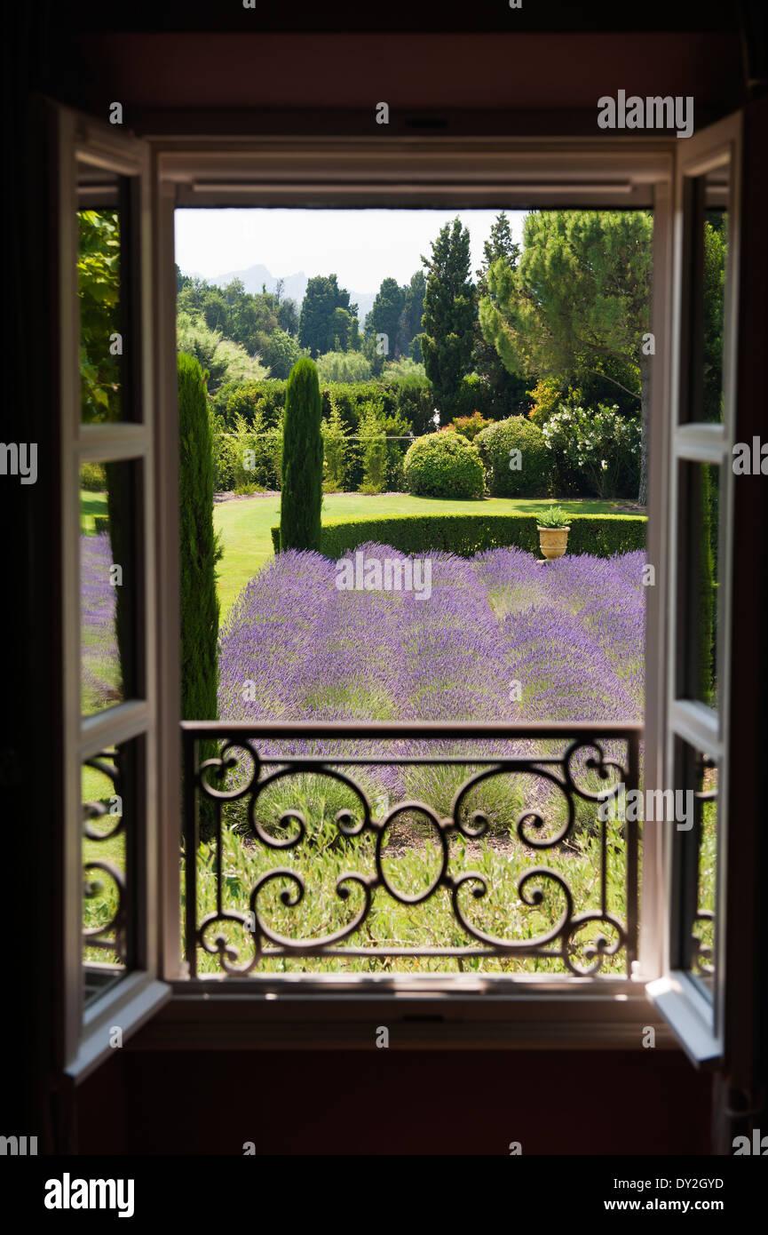 Blick vom Balkon aus zum provenzalischen Garten mit reichlich Lavendel und Zypressen Stockbild