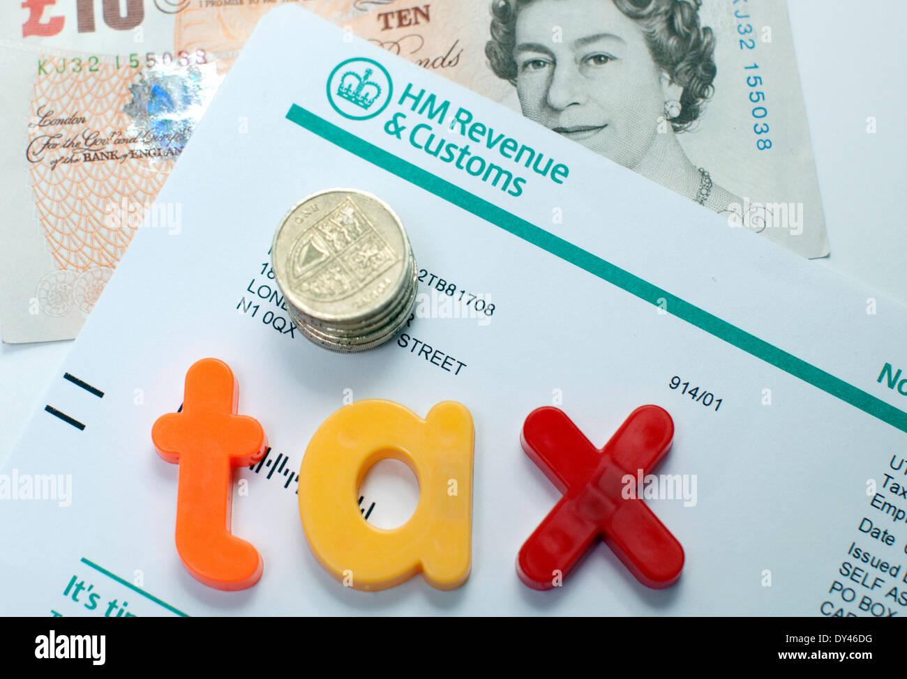 HMRC Einkommensteuer Dokument, London Stockfoto
