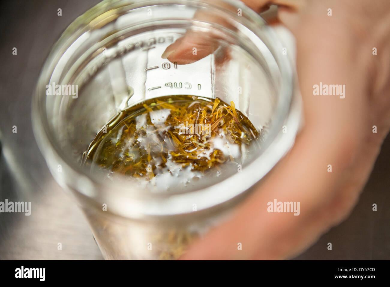 Macht ein Heilmittel mit Calendula und Olivenöl in gesunde Lebensmittel lagern Stockbild