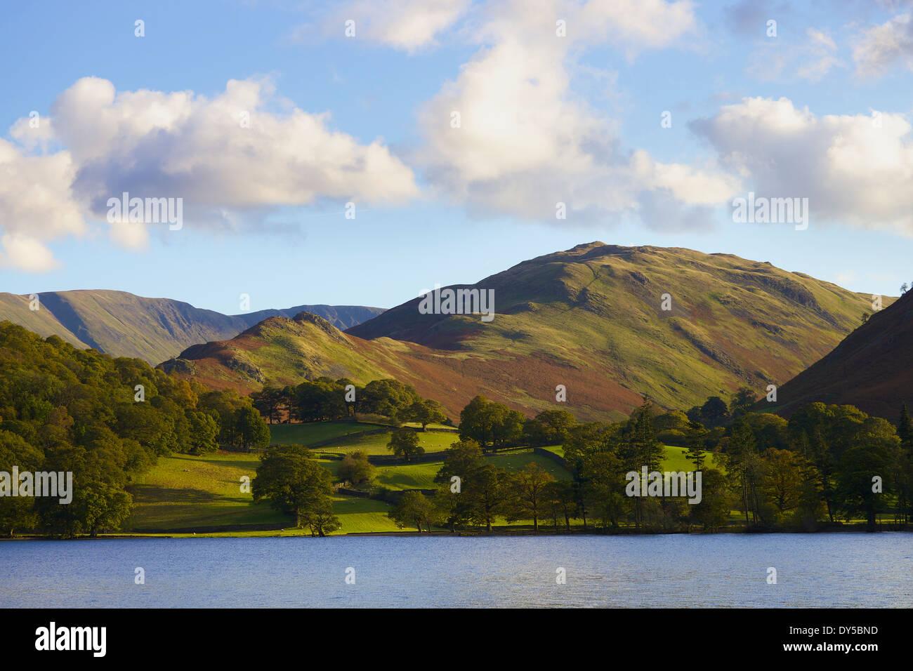 See-Szene mit Feldern, Bäumen und Hügeln. Beda Kopf, Sandwick Bay, Lake District, England. Stockbild