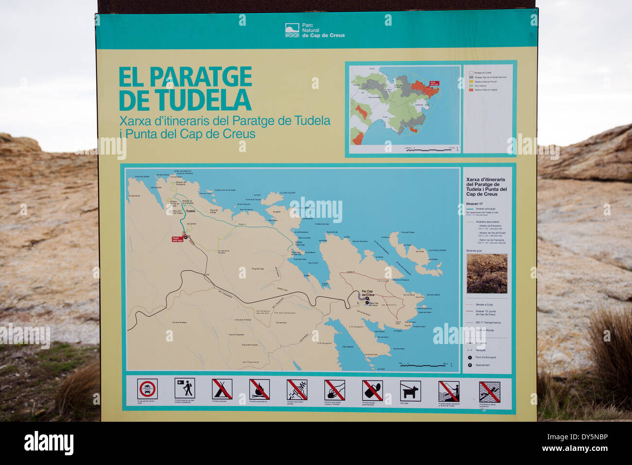 Karte Costa Brava Spanien.Cap De Creus Natur Park Karte Aushangeschild Costa Brava In