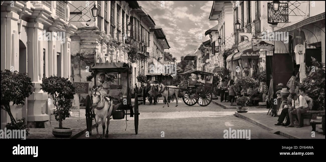 Panorama-Blick von Vigan, einer spanischen Kolonialstadt in Ilocos, Insel Luzon, Philippinen Stockbild