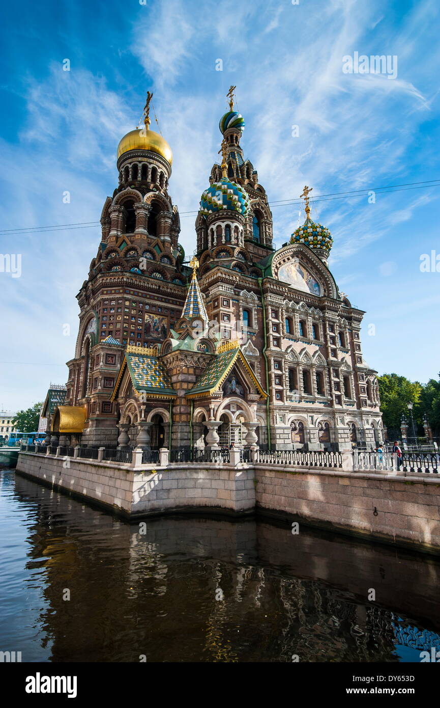 Kirche des Retters auf Blut, UNESCO-Weltkulturerbe, St. Petersburg, Russland, Europa Stockbild