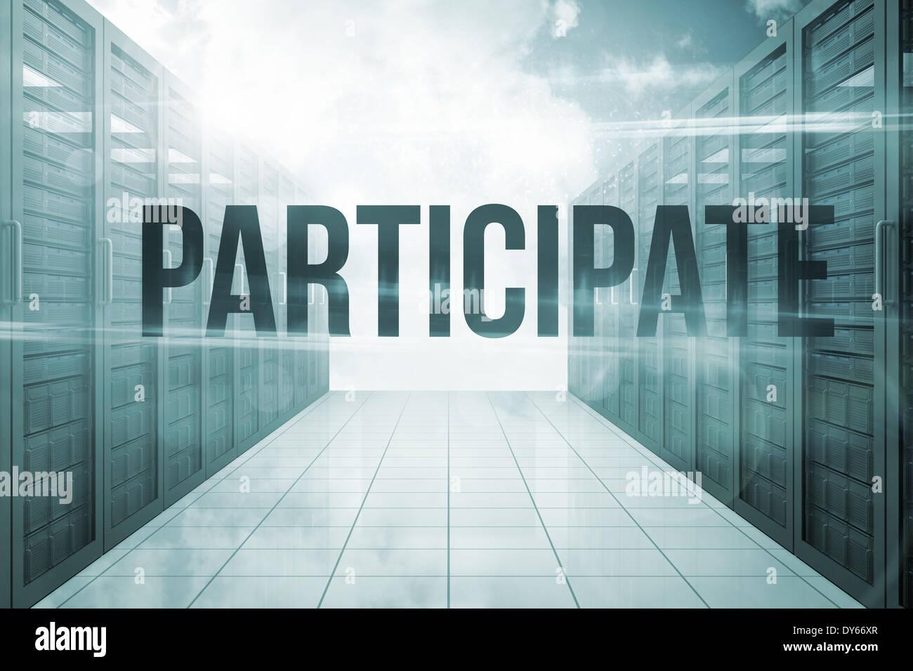 Teilnahme gegen Server Flur in den Himmel Stockbild