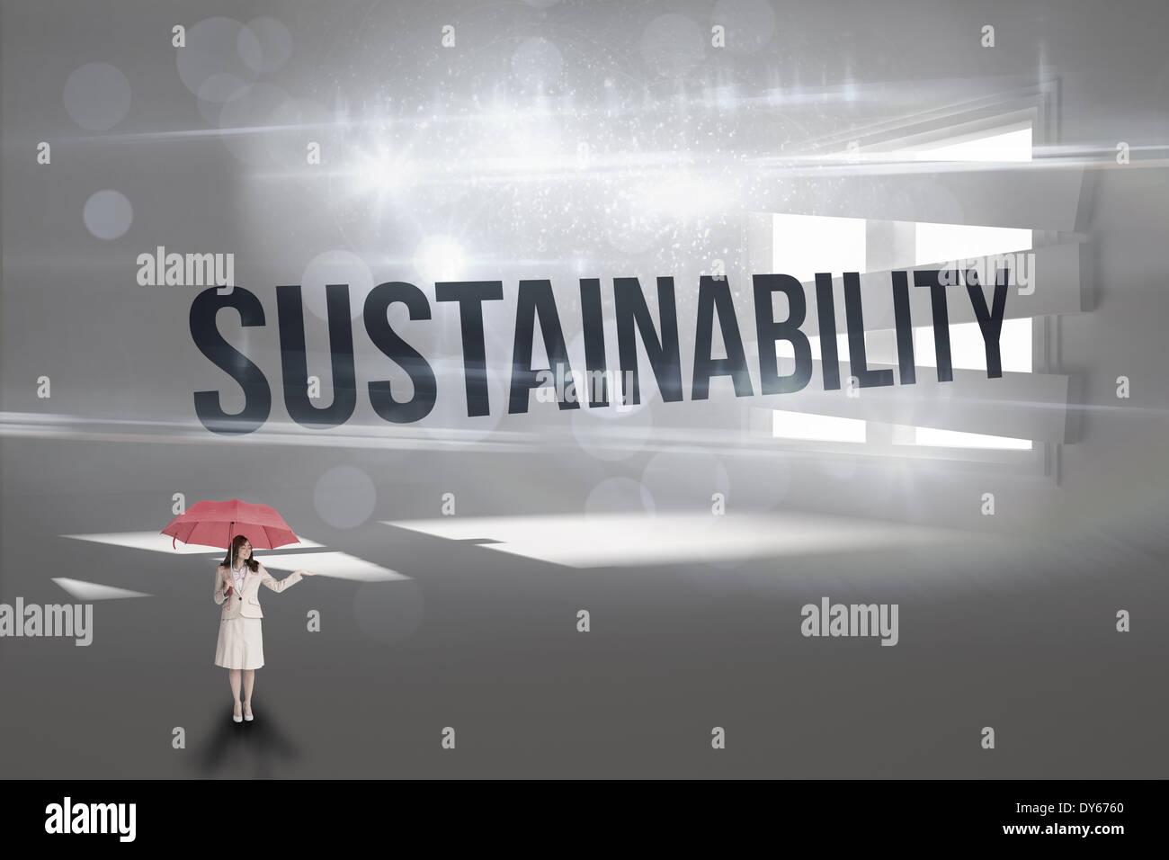 Nachhaltigkeit gegen Digital erzeugte Zimmer grenzt sich Fenster Stockbild