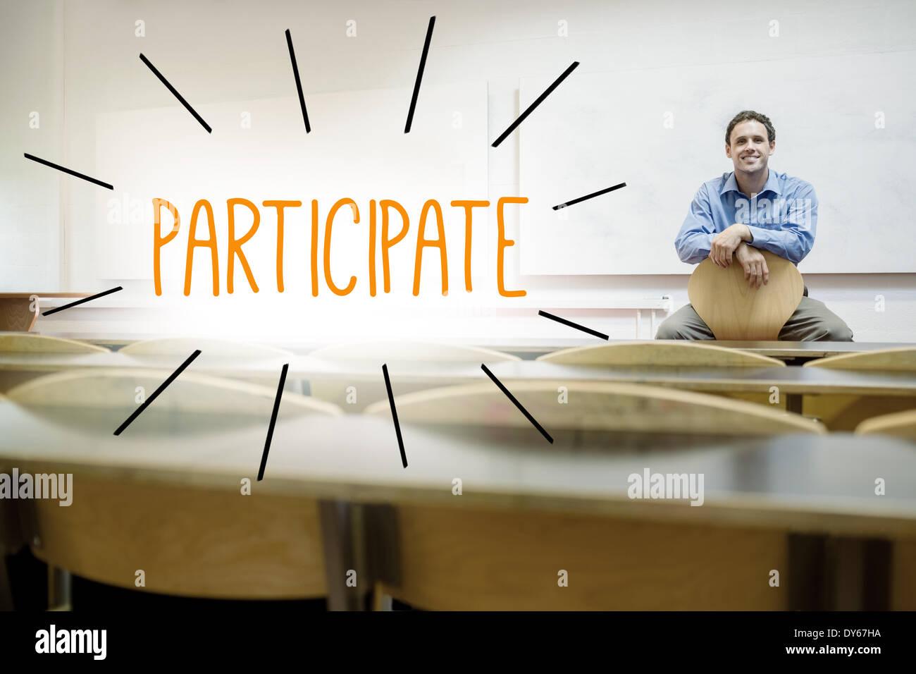 Gegen Dozenten im Hörsaal sitzen teilnehmen Stockbild