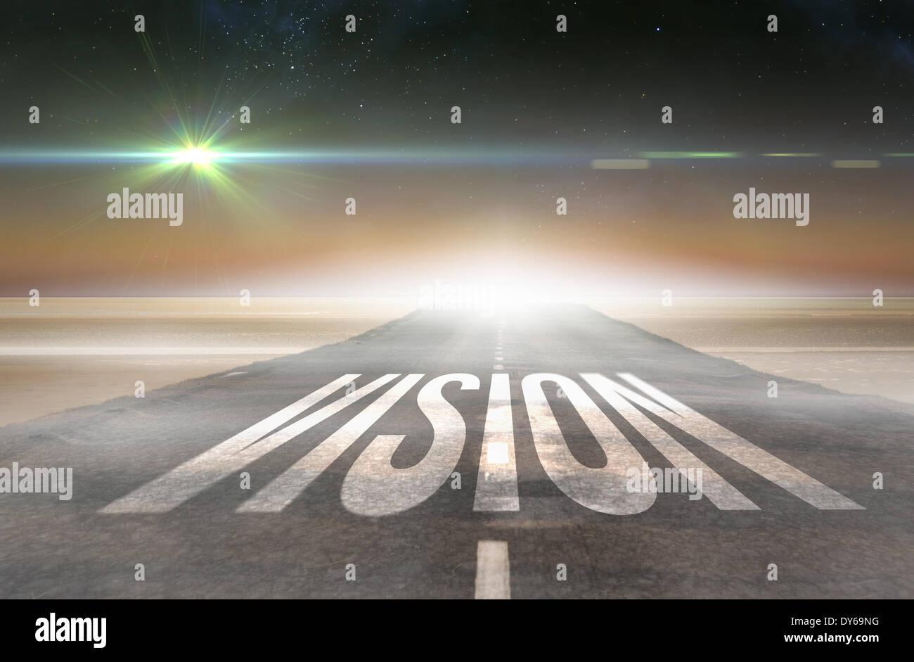 Vision gegen Straße führt bis zum Horizont Stockbild
