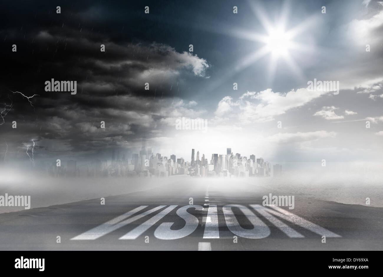 Vision gegen Landstraße Stockbild