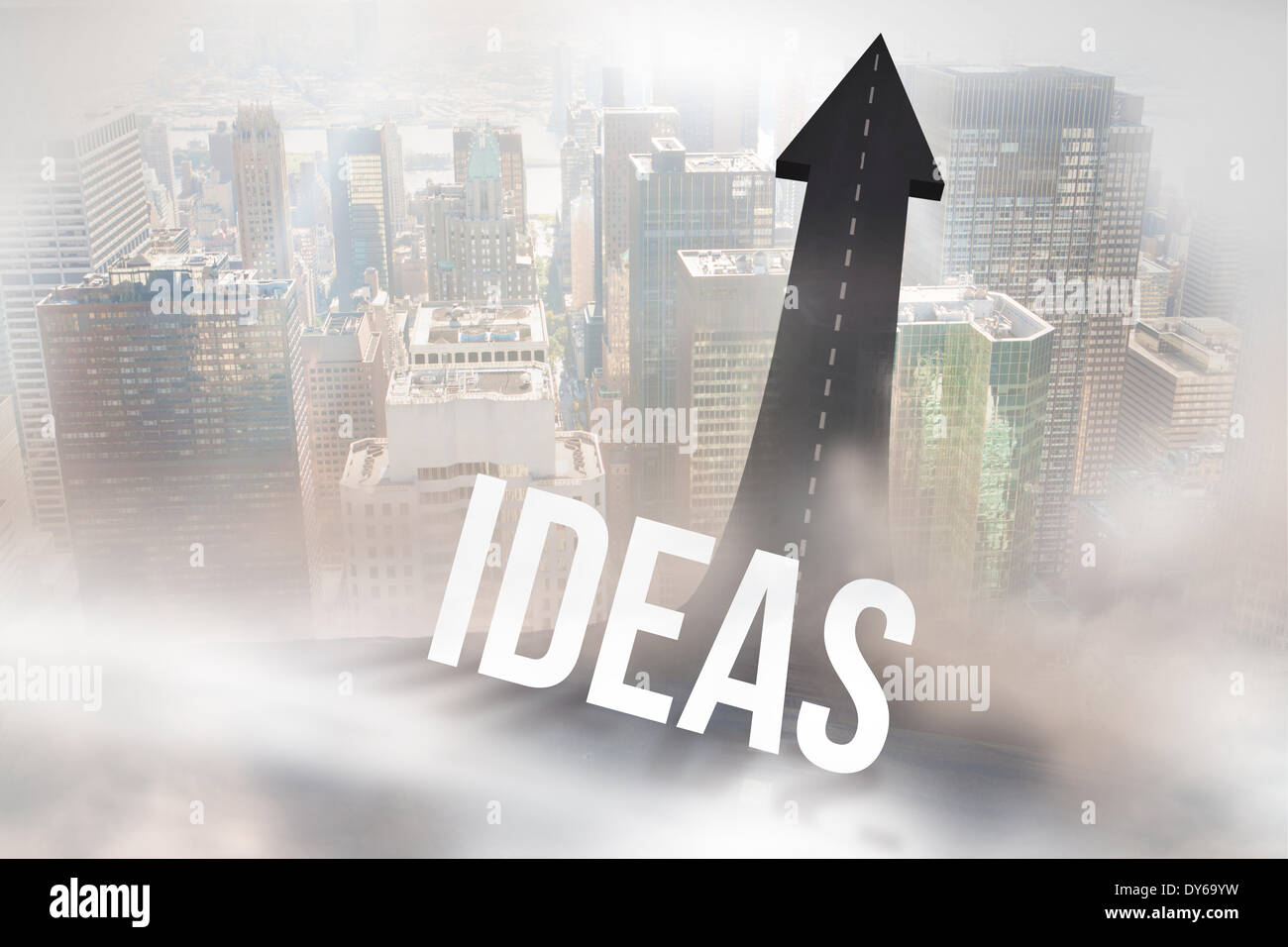 Ideen gegen Straße in Pfeil drehen Stockbild