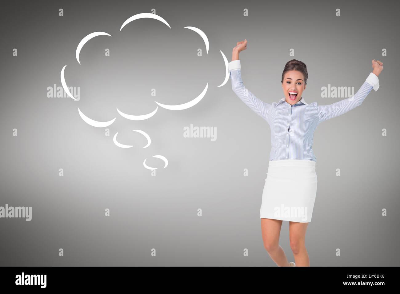 Zusammengesetztes Bild begeistert brunette Geschäftsfrau springen und jubeln mit Sprechblase Stockbild