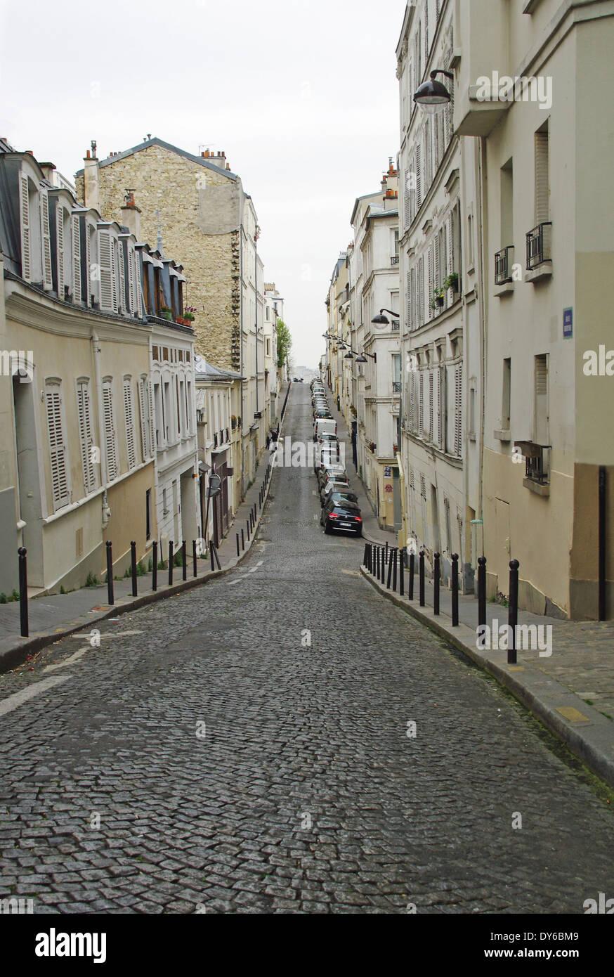 Straße in Montmartre Paris Stockbild