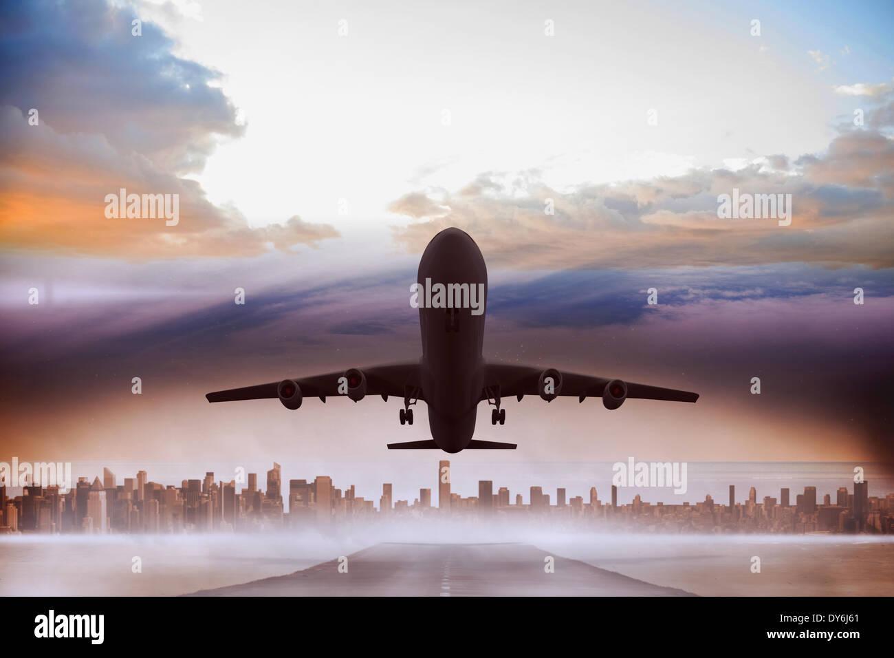 Das zusammengesetzte Bild von grafischen Flugzeug Stockbild