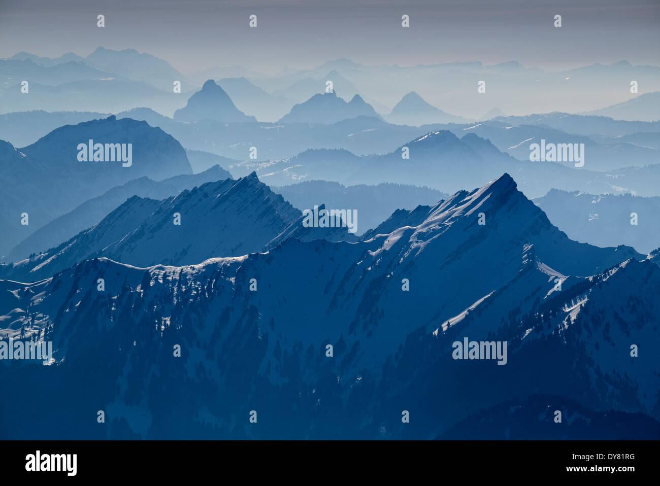 Schweiz, Kanton Appenzell Ausserrhoden, Blick vom Säntis auf Schweizer Alpen Stockbild