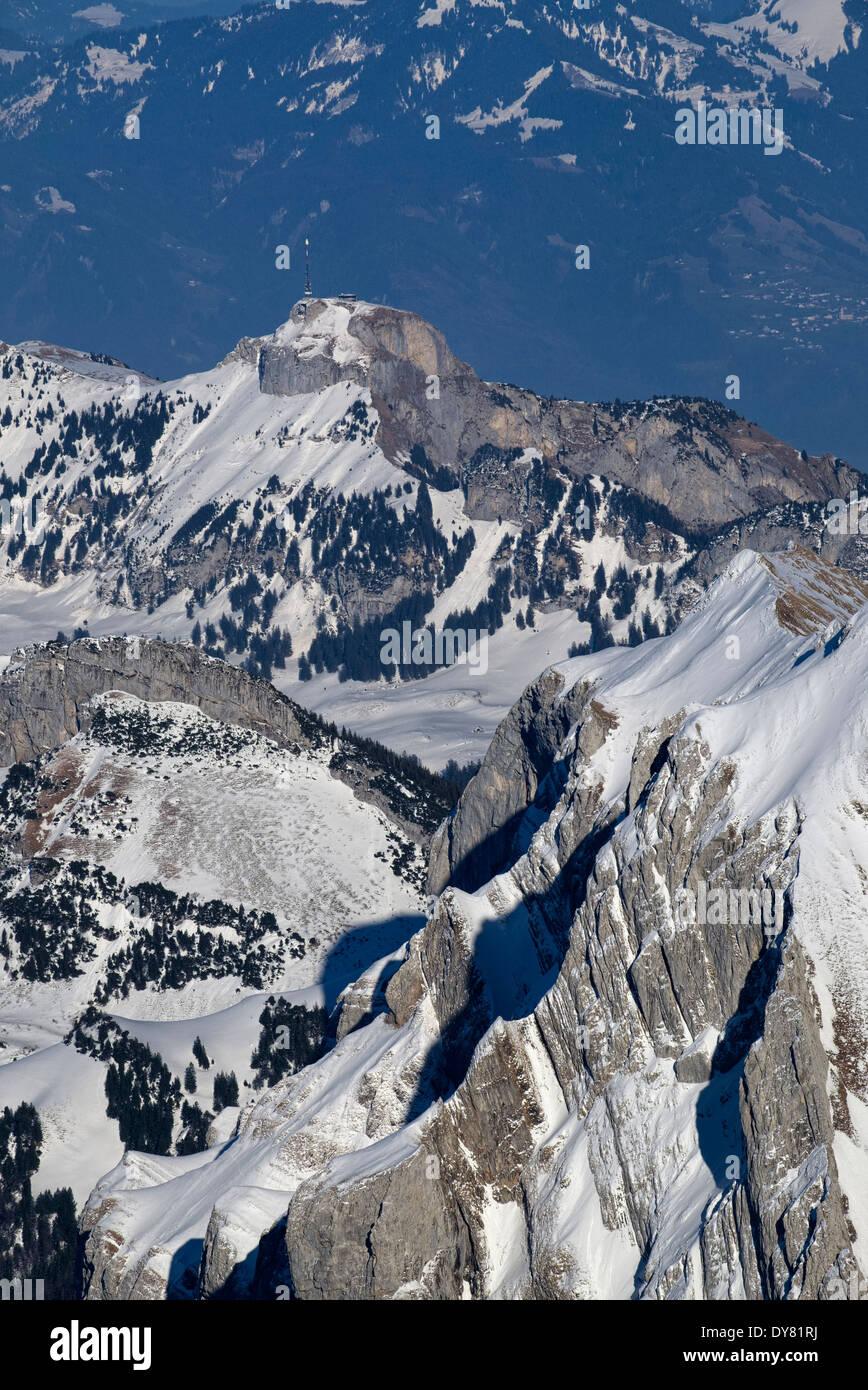 Schweiz, Kanton Appenzell Ausserrhoden, Appenzell Alpen, Blick zum Berg Hoher Kasten Stockbild