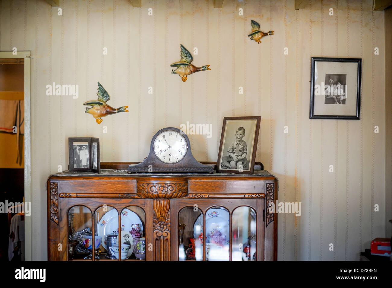 Gerahmte Bilder Wohnzimmer ~ Fliegende enten auf vintage tapete im zweiten weltkrieg wohnzimmer