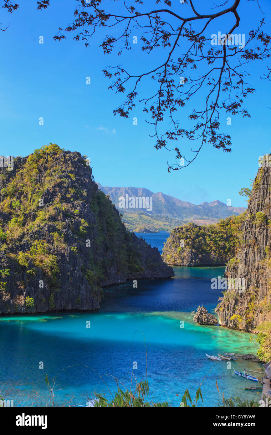 Philippinen, Palawan, Coron Island, Kayangan See, erhöhte Ansicht aus einem Kalkstein-Klippen Stockbild