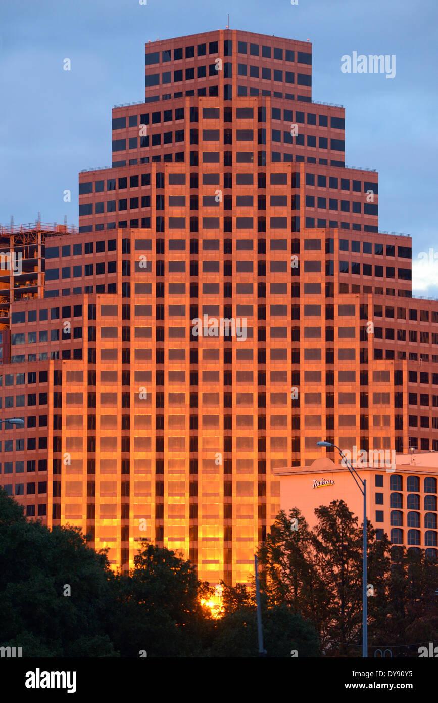 USA, USA, Amerika, Texas, Austin, Gebäude, Innenstadt, Stadt, Architektur, Hochhaus Stockbild