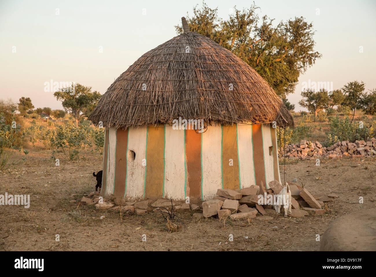 Rural, Heimat, Setrawa, Asien, Indien, Rajasthan, rund, Haus Stockbild