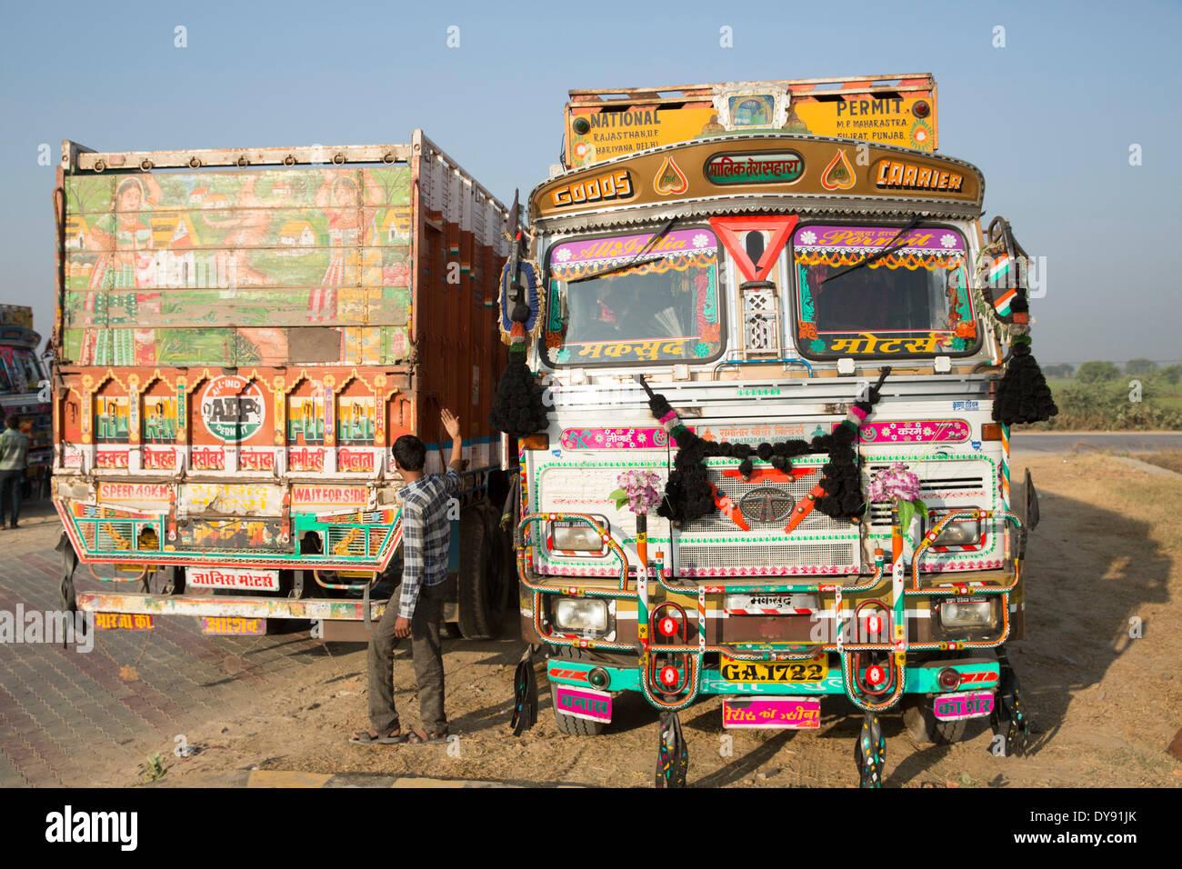 Indisch, LKW, Asien, Indien, Verkehr, Transport, bunt, hell, Stockbild