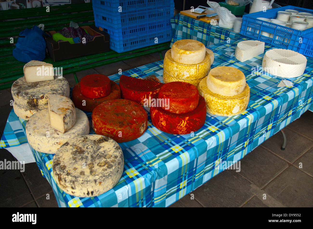 Käse, Mercado Turistico 2020 Markt außerhalb San Gines Kirche, Arrecife, Lanzarote, Kanarische Inseln, Spanien, Europa Stockbild