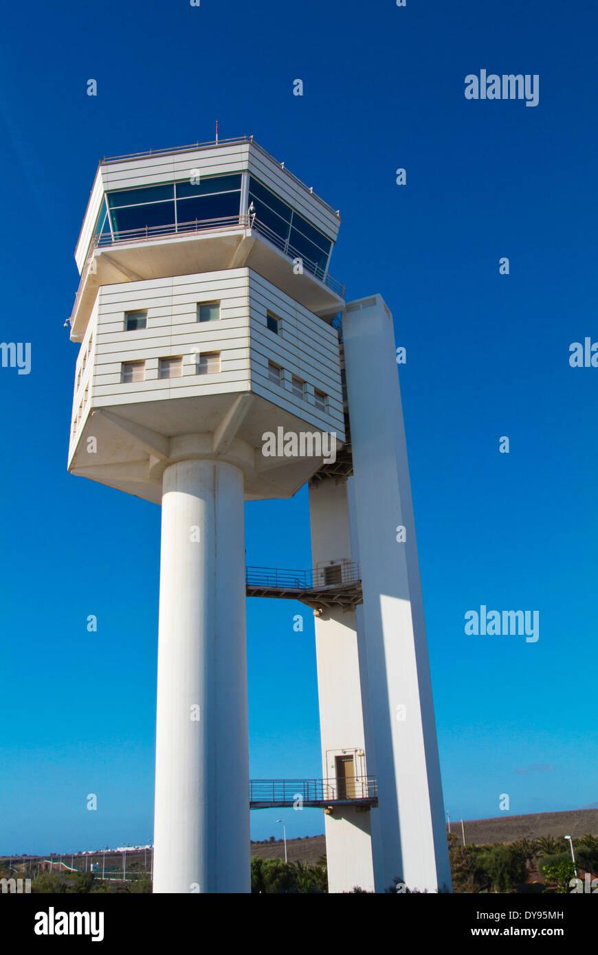 Air Traffic Control Tower, Arrecife, Lanzarote, Kanarische Inseln, Spanien, Europa Stockbild