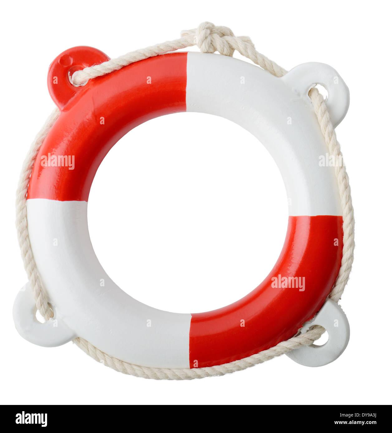 ein Makro ein Rettungsring isoliert auf weißem Hintergrund Stockbild