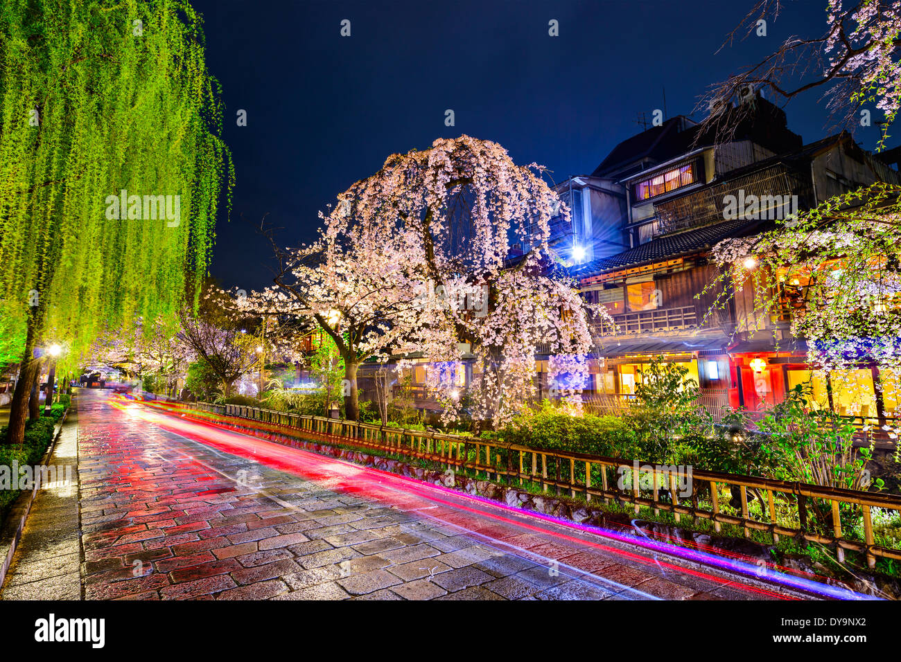 Kyoto, Japan im historischen Stadtteil Gion während der Frühjahrssaison. Stockbild