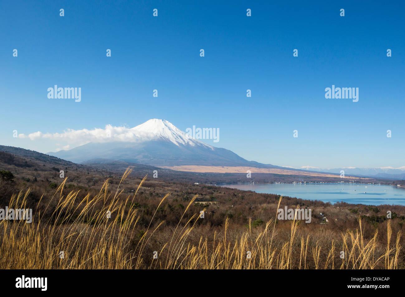 Japan, Asien, Yamanaka-See, Yamanaka, klar, Fuji, See, Berg, Panorama, Schnee, Tourismus, Reisen Stockbild